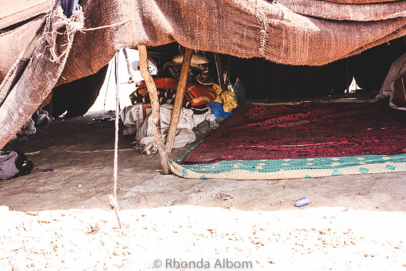 A tent at a Bedouin camp in the Sahara desert in Morocco