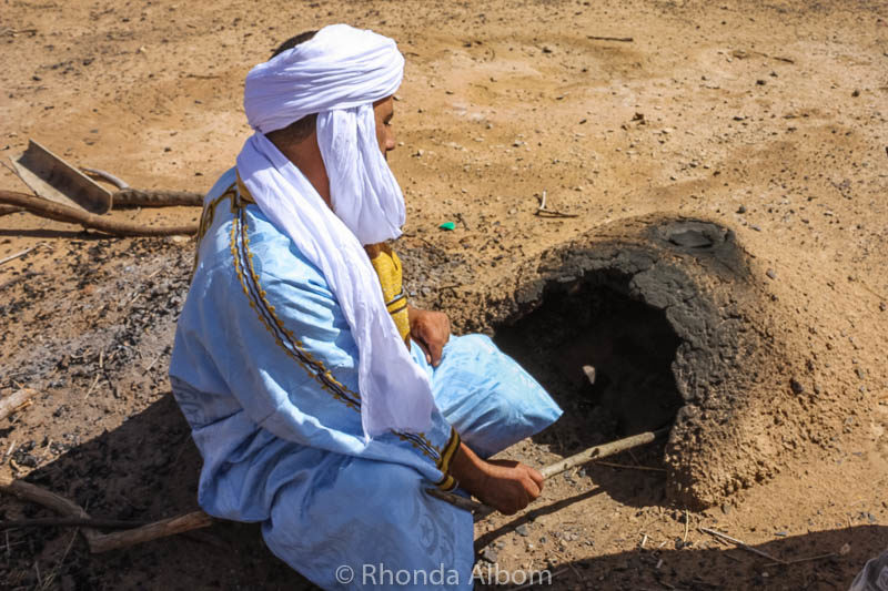 Bedouin oven in the Sahara desert in Morocco