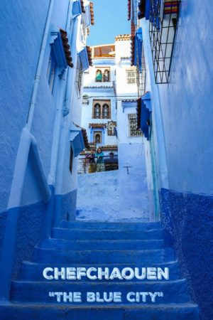 A collection of photos of Chefchaouen, the Blue City in Morocco.