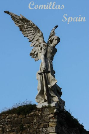 A collection of interesting landmarks and photos including this angel that stands over the cememtery in Comillas, Cantabria, Spain