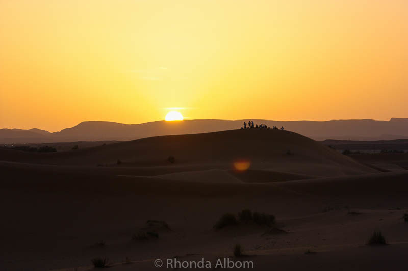 Sunset in the Sahara desert in Morocco