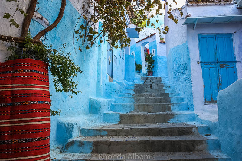 Stairs in Chefchaouen, the Blue City in Morocco.