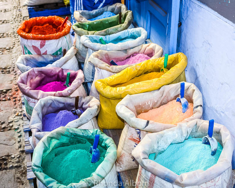 Paint pigment for sale in Chefchaouen Morocco: blue for the exterior, colours for the interior.