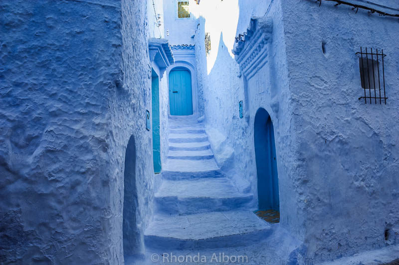 Classic scene in Chefchaouen, the Blue City in Morocco.