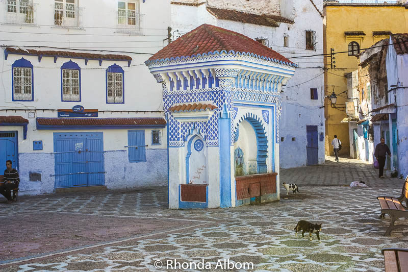 Main square in Chefchaouen, the Blue City in Morocco.