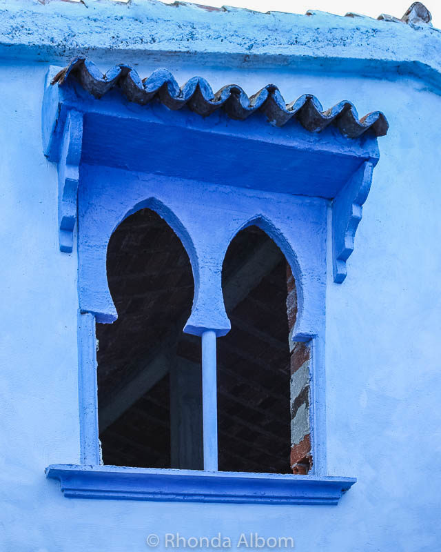 Windows in Chefchaouen, the Blue City in Morocco.