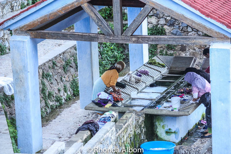 A laundry washing station alongside the river in Chefchaouen Morocco