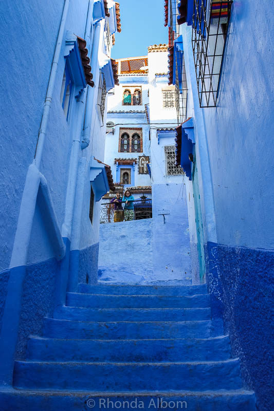 Stairs leading to Riad Dar LBakal in Chefchaouen, the Blue City in Morocco.