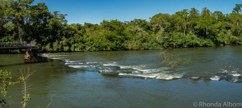 A calm portion of the river inside Iguazu Falls Park on the Argentina Side.
