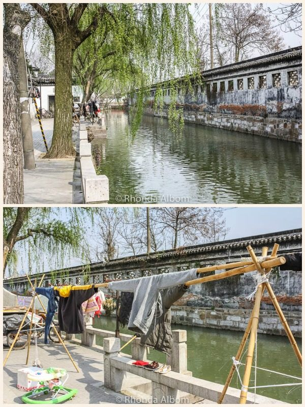 Laundry hanging by a canal in Suzhou China