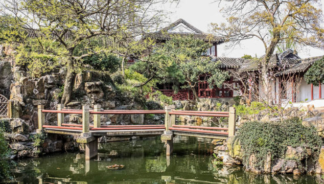Inside one of the gardens in Suzhou China