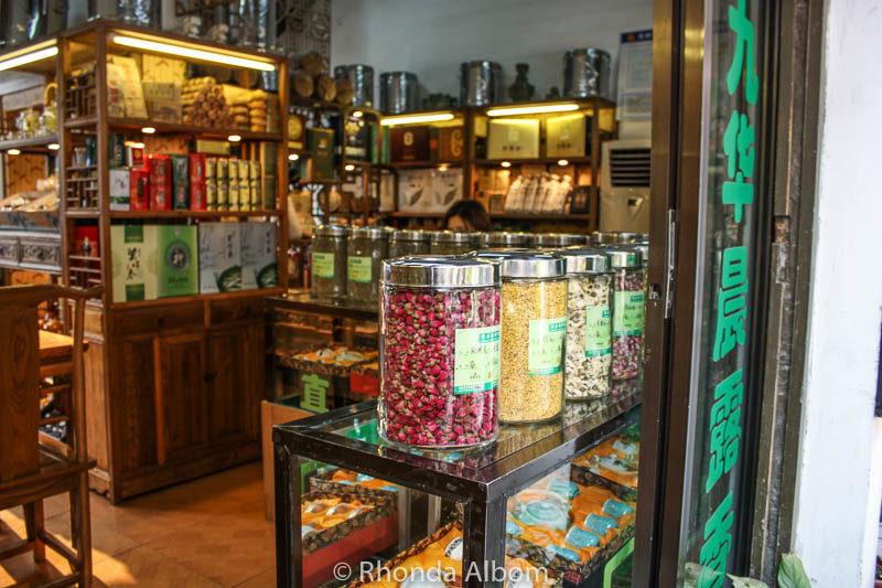 A tea shop in the Pingjiang Historic Quarter of Suzhou China