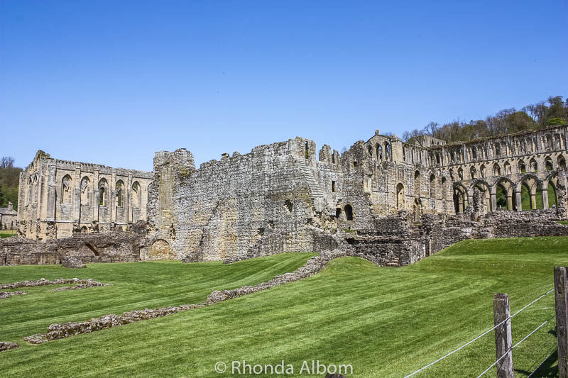 One of our first views of Rievaulx Abbey in the British Countryside