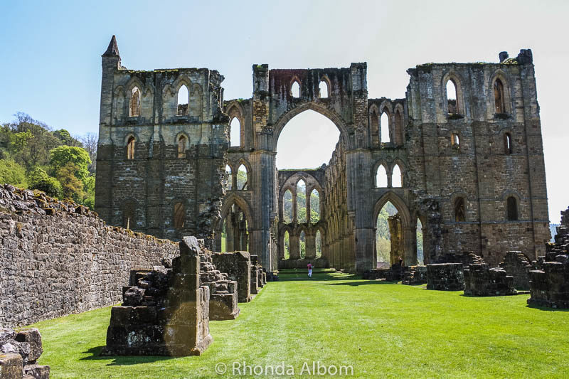 The ruins of Rievaulx Abbey in the British Countryside
