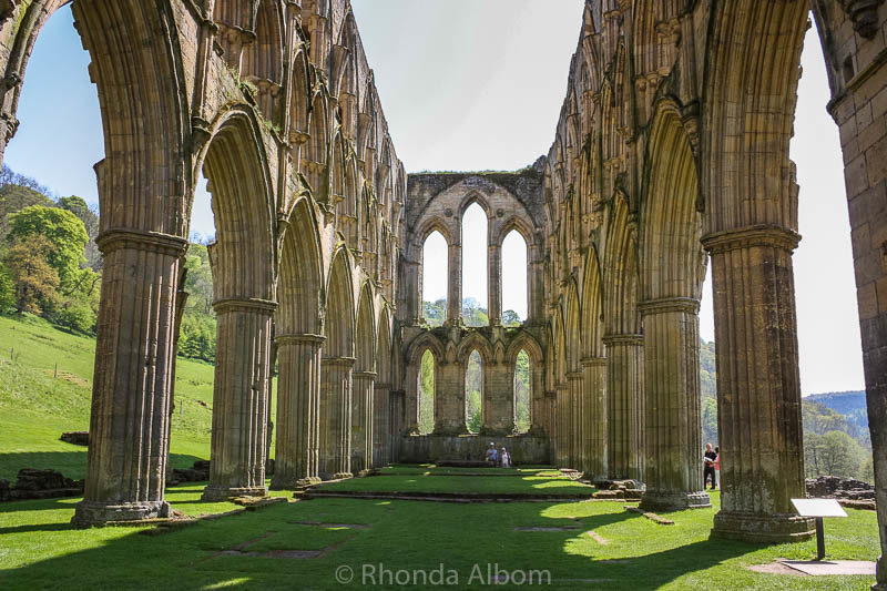 Once a great room of Rievaulx Abbey in the British Countryside seen on our England road trip