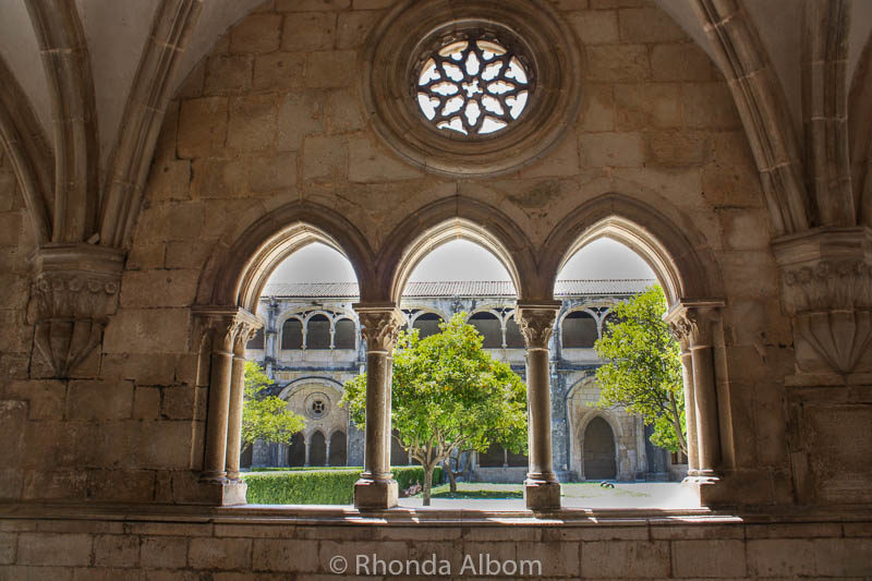 Looking out at the cloisters in the Alcobaca Monastery Portugal