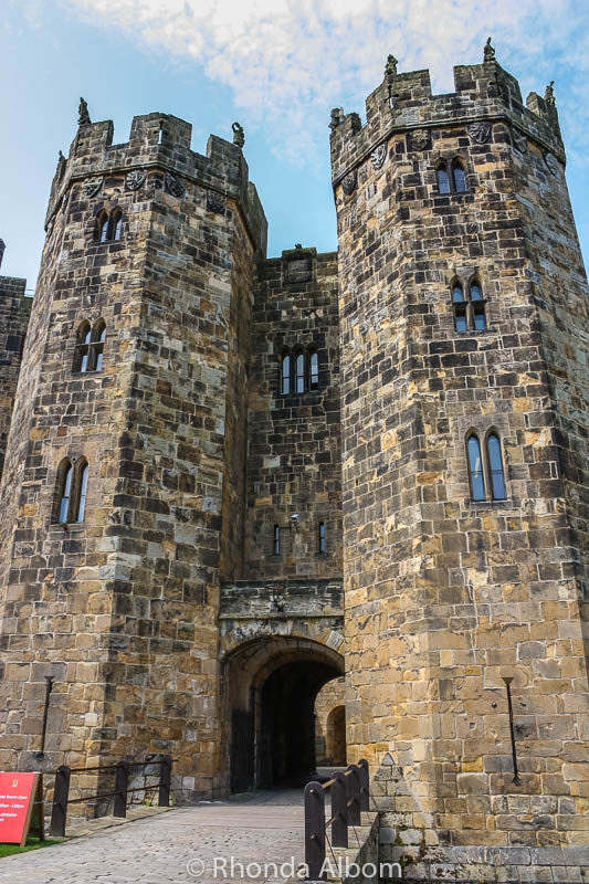 Alnwick Castle towers in England