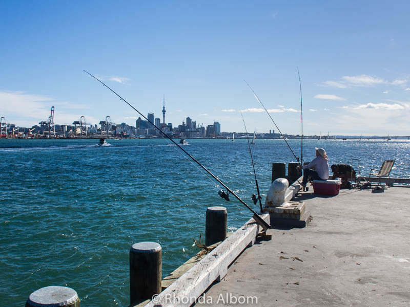 Fishing on Devonport Wharf in Auckland New Zealand