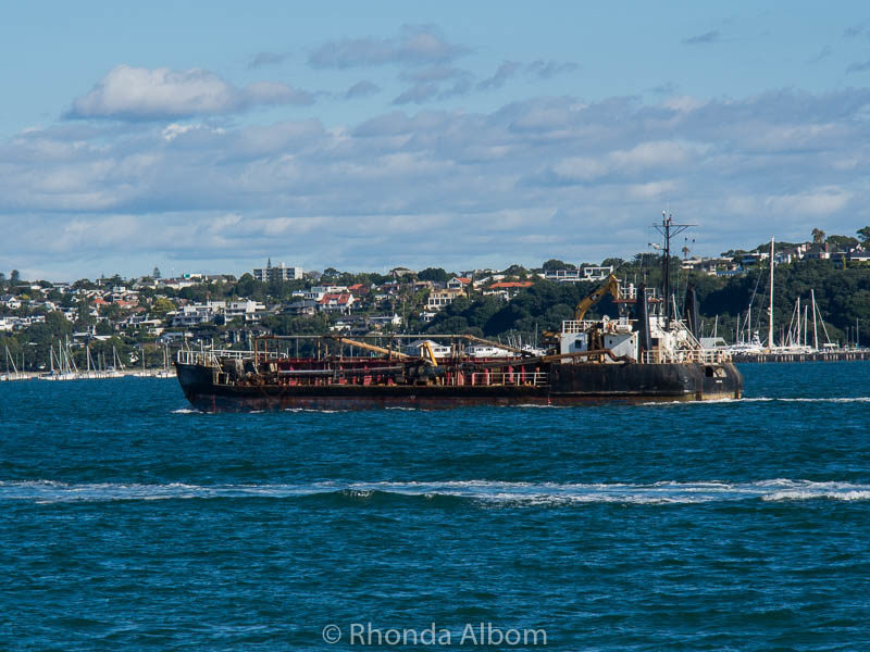 An industrial vessel seen from Devonport Wharf in Auckland New Zealand