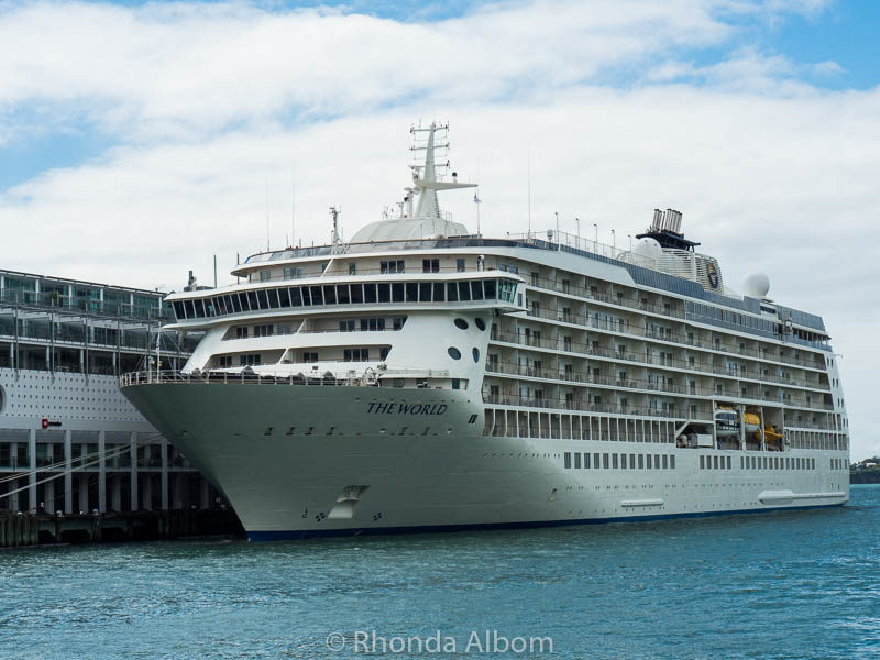 The World docked in Auckland New Zealand. It is the largest private residential yacht on earth.