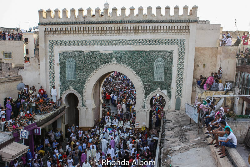 The main gate of the old medina in Fes during a festival