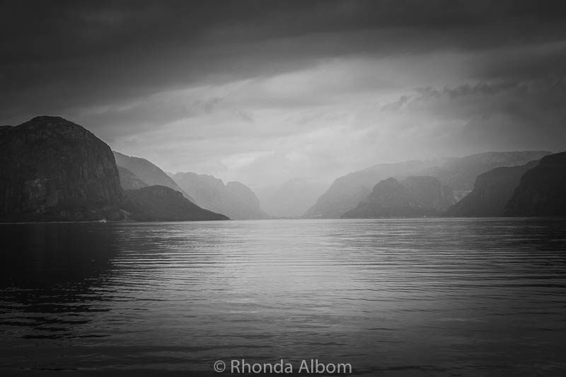 Misty view as cruise Lysefjord in Norway