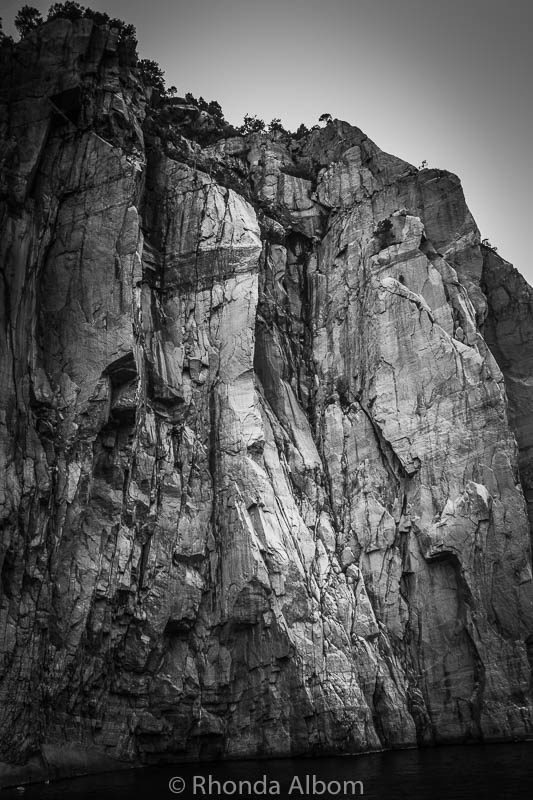 View of a cliff as cruise Lysefjord in Norway