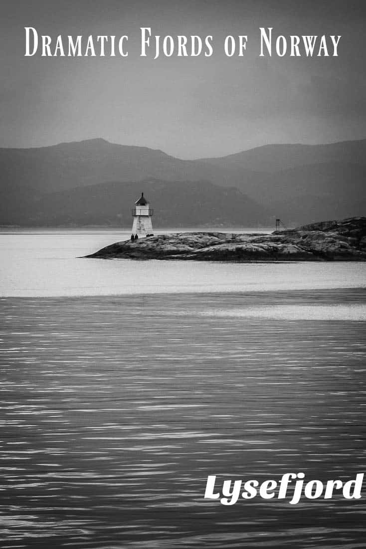 A collection of dramatic black and white photos of Lysefjord, a Fjord in Norway