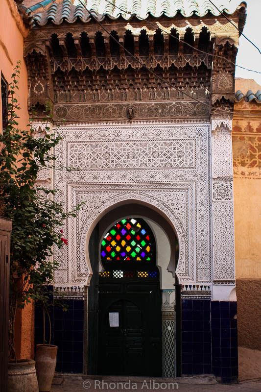 The entrance way to a mosque in the old medina in Marrakesh, Morocco