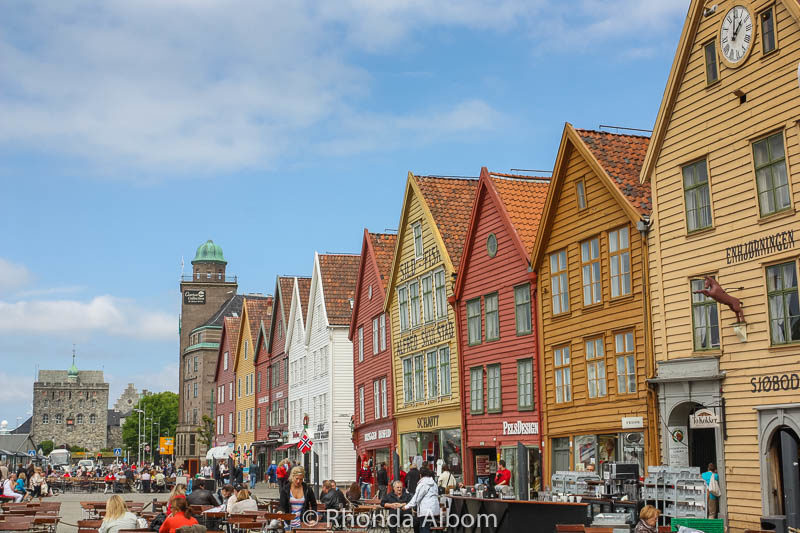 Bryggen (this row of colorful commercial buildings) in Bergen, Norway is a UNESCO world heritage site.