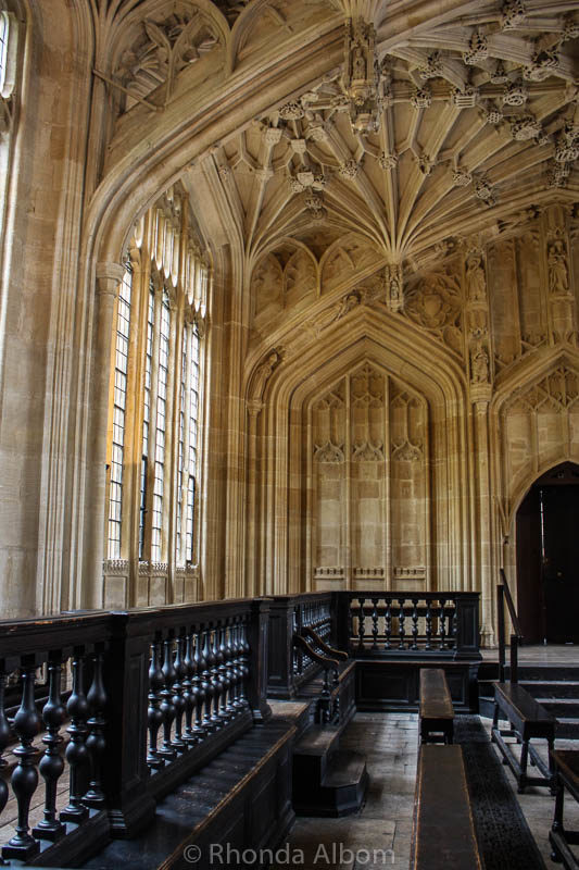 Divinity School at University of Oxford is on of the Harry potter sites in Oxford England