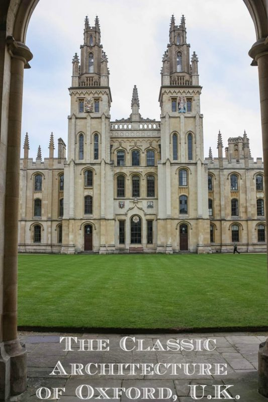 This is University of Oxford in England. It is one of a series of photos of a city that offers examples of every English architectural period since the 11th century.