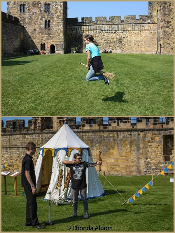 Archery and Broomstick flying at Alnwick Castle in England