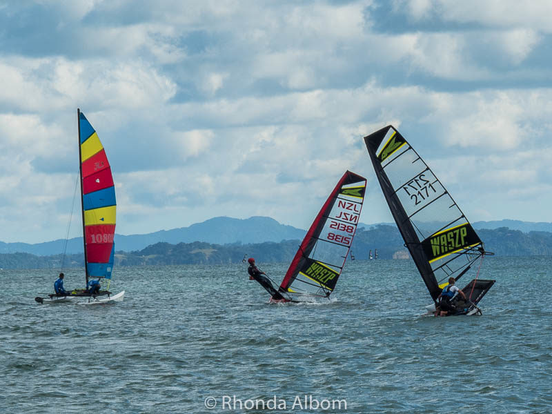 Small craft and flying boats sailing in New Zealand