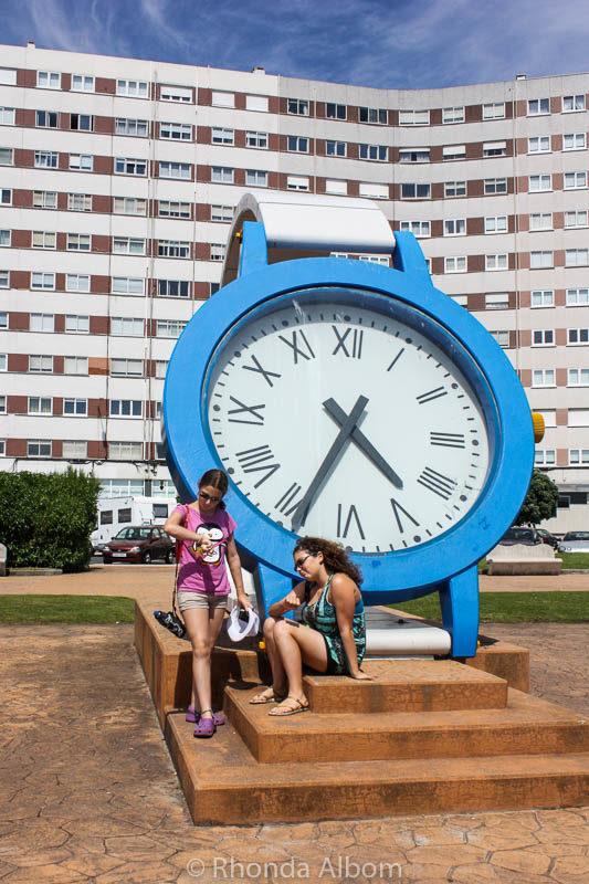 Giant watch sculpture in La Coruna, Spain