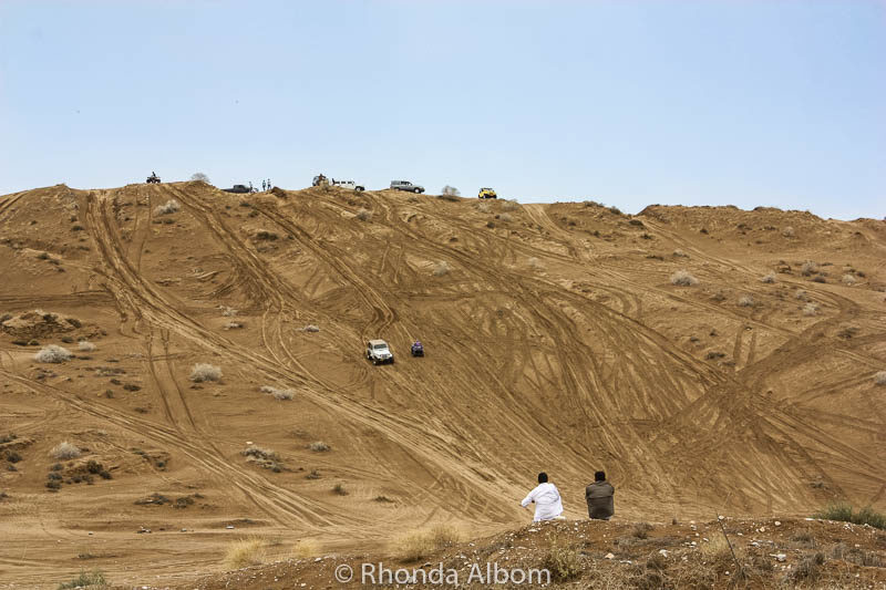 Watching dune bashing in Muscat Oman