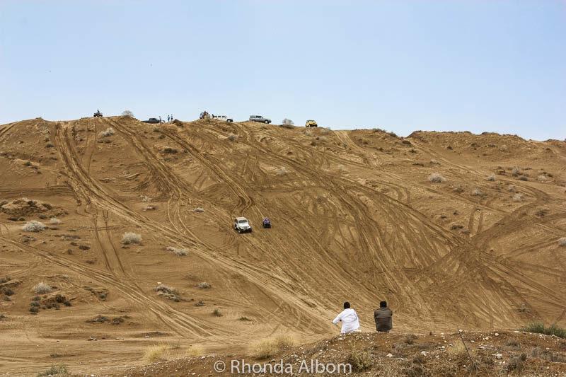 Watching dune bashing in Muscat Oman