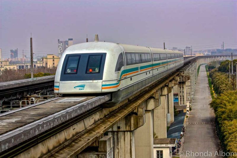 Maglev Train from the Pudong International to Shanghai, China