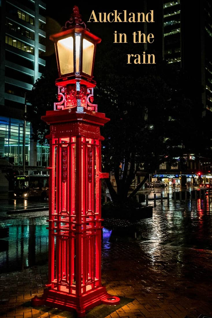 One of many in a photo essay highlighting the rain and how the colours of Auckland New Zealand reflect brightly in the wet pavement.