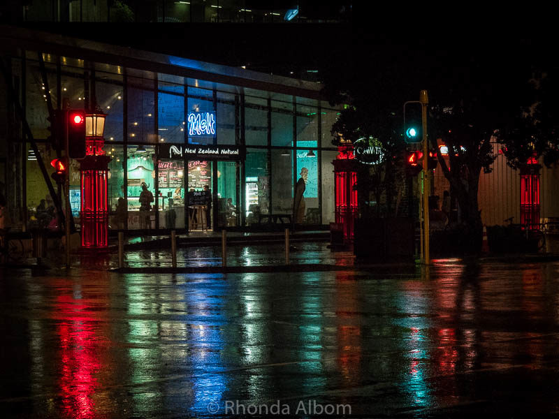 City lights on a busy corner in Auckland New Zealand