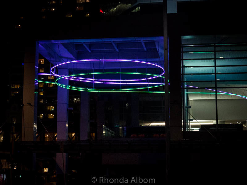 Decor lit up at night at the PWC building on Quay Street in Auckland New Zealand