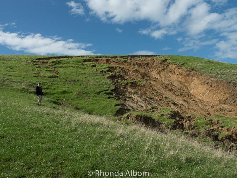 Massive land slip in Shakespear Park, Auckland New Zealand