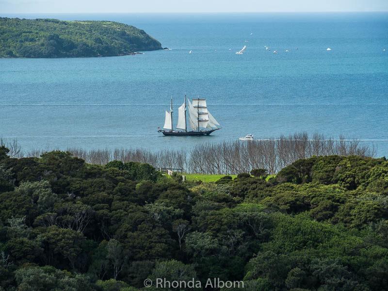 Spirit of New Zealand sailing around Shakespear Park in Auckland New Zealand