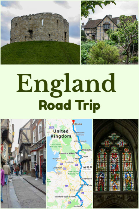 England road trip from Oxford to Alnwick