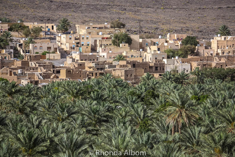 Al Hajar mountains are an interesting mix of green palms and desert structures.