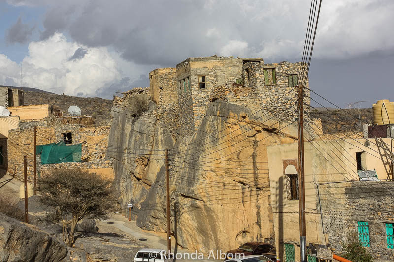 The traditional mountain town of Misfat Al Abriyeen was built into the hills.