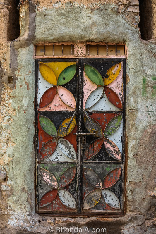 Stained glass window in Misfat Oman