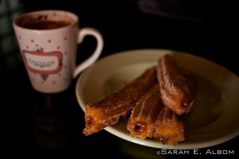 Dulce de leche-filled churros and hot chocolate. Photo copyright ©Sarah Albom 2016
