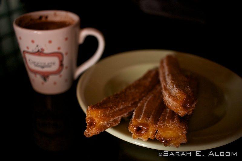 Dulce de leche-filled churros and hot chocolate. Photo copyright ©Sarah Albom 2016