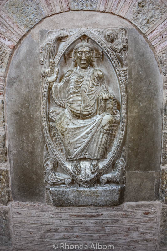 Marble panel of Christ in Majesty in the Basilica of Saint Sernin in Toulouse France